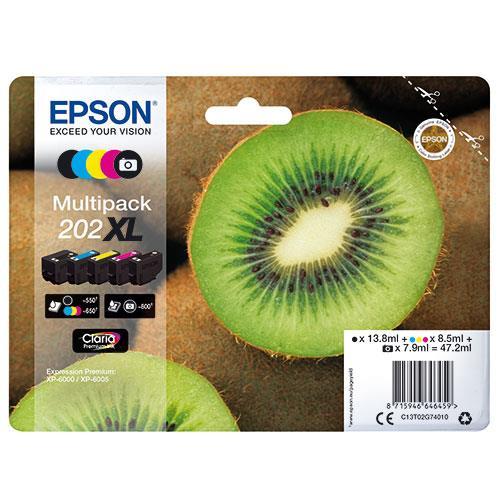 Epson 202XL Black Claria Premium Ink 5-Colour Multipack