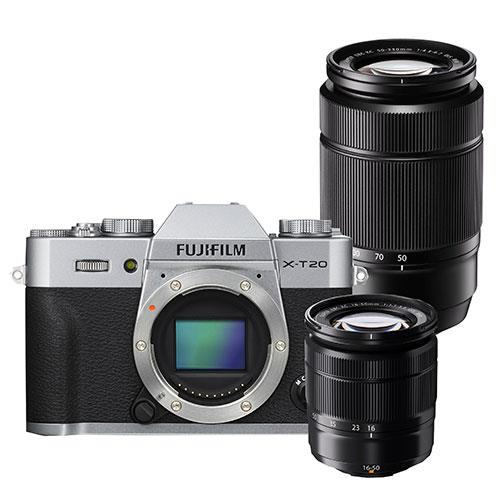 Fujifilm X-T20 Mirrorless Camera Body in Silver with XC16-50mm lens and XC50-230mm Lens