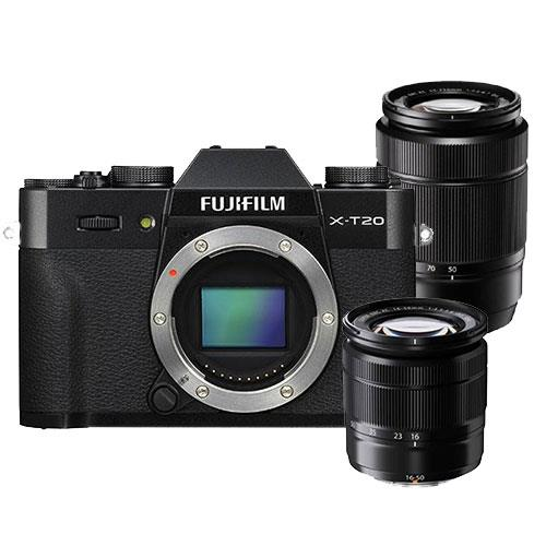 Fujifilm X-T20 Mirrorless Camera Body in Black with XC16-50mm and 50-230mm Lens