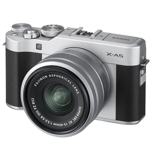 Fujifilm X-A5 Mirrorless Camera In Silver with XC15-45mm Lens