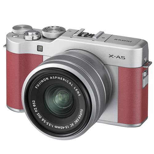 Fujifilm X-A5 Mirrorless Camera In Pink with XC15-45mm Lens