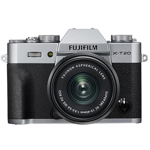 Fujifilm X-T20 Mirrorless Camera in Silver with XC15-45mm f/3.5-5.6 OIS PZ Lens