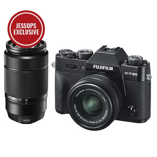 Fujifilm X-T30 Mirrorless Camera in Black with XC15-45mm and 50-230mm Lenses