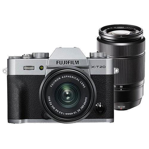Fujifilm X-T20 Mirrorless Camera in Silver with XC15-45mm Lens and XC50-230mm f/4.5-6.7 OIS II Lens - Ex Display
