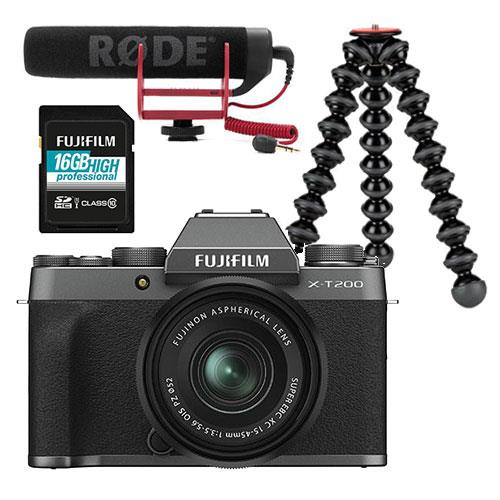 Fujifilm X-T200 Mirrorless Camera in Dark Silver with XC15-45mm Lens Vlogging Kit