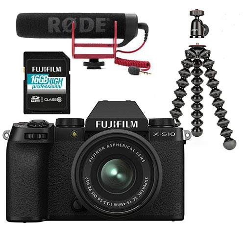Fujifilm X-S10 Mirrorless Camera in Black with XC15-45mm Lens and Vlogger Kit