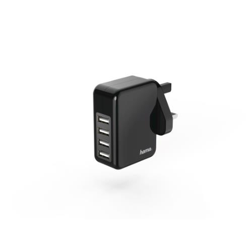 Hama Charger, 4 USB, 4.8 A, with UK plug, black