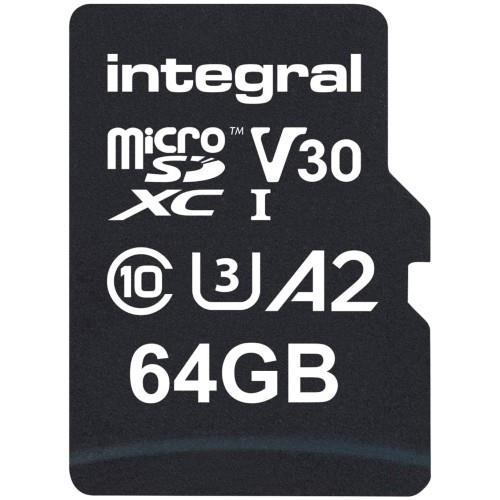Integral Professional High Speed microSD 64GB 180MB/s V30 UHS-I U3 Memory Card