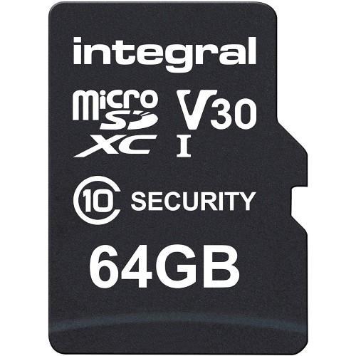 Integral Security microSD 64GB 100MB/s V10 UHS-1 U3 Memory Card