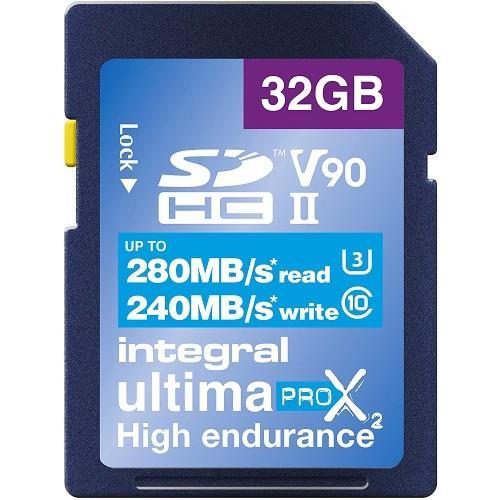 Integral UltimaPro X2 SDHC 32GB 280MB/s V90 UHS-II Memory Card
