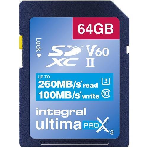 Integral UltimaPro X2 SDXC 64GB 260MB/s V60 UHS-II Memory Card