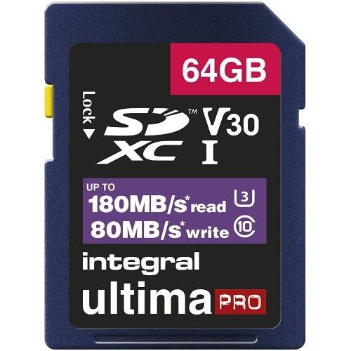 Integral Professional SDXC 64GB 180MB/s V30 UHS-I Memory Card