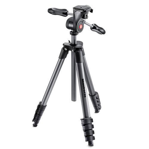 Manfrotto Compact Advanced Aluminium Tripod in Black with 3-Way Head  - Ex Display