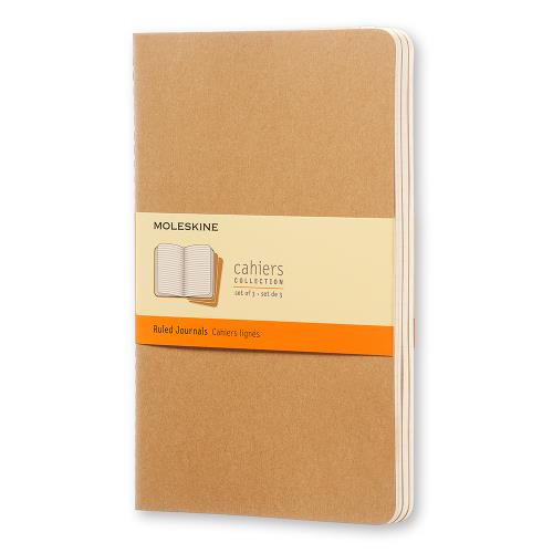 Moleskine Ruled Cahier Large Kraft Cover 3 Pack