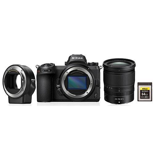 Nikon Z 7 Mirrorless Camera + 24-70mm f/4 S Lens, FTZ Mount Adapter and Nikon 64GB XQD Card