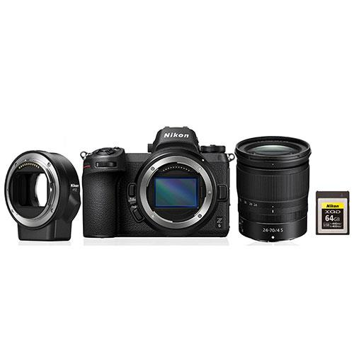 Nikon Z 6 Mirrorless Camera with 24-70mm f/4 S Lens, FTZ Mount Adapter and Nikon 64GB XQD Card