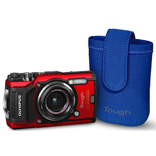 Olympus Tough TG-5 Digital Camera in Red with Blue Neoprene Case