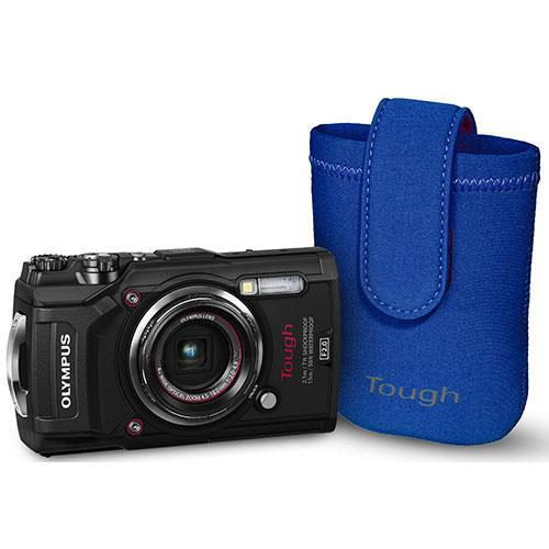 Olympus Tough TG-5 Digital Camera in Black with Blue Neoprene Case - Ex Display