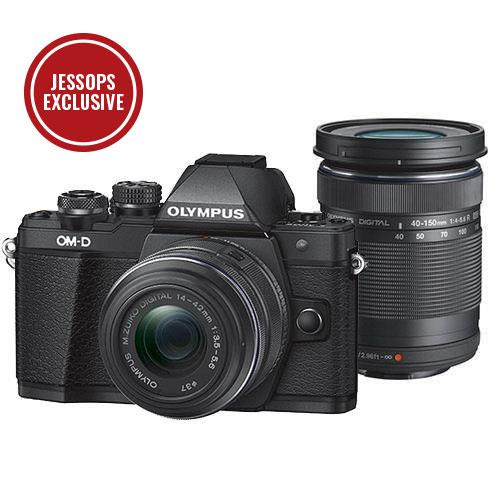 Olympus OM-D E-M10 Mark II Compact System Camera in Black with 14-42mm and 40-150mm Lenses