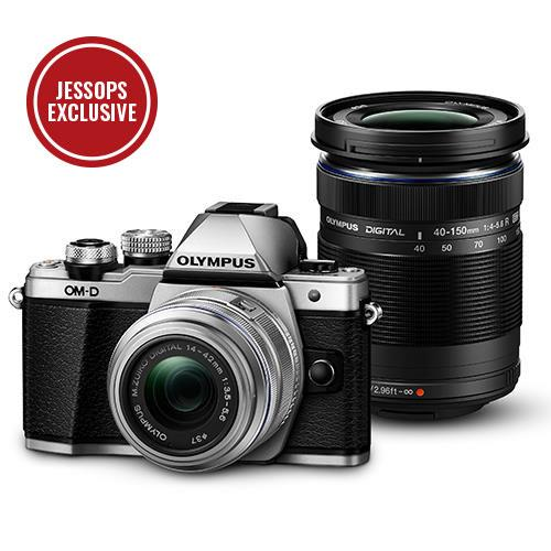 Olympus OM-D E-M10 Mark II Compact System Camera in Silver with 14-42mm and 40-150mm Lenses