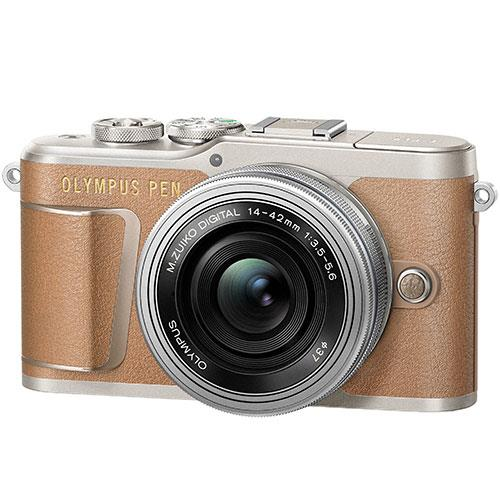 Olympus PEN E-PL9 Mirrorless Camera in Brown with 14-42mm EZ Lens