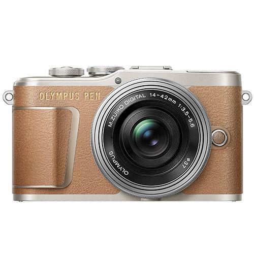 Olympus PEN E-PL9 Mirrorless Camera in Brown with 14-42mm EZ Lens - Ex Display