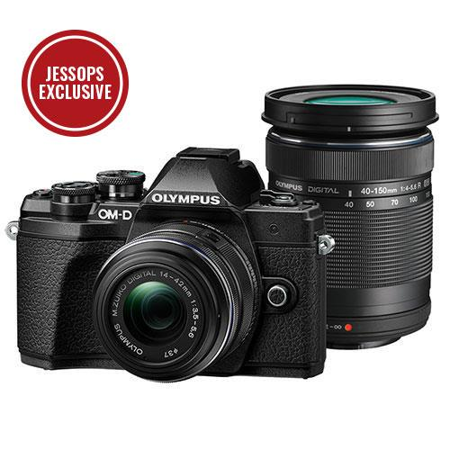 Olympus OM-D E-M10 Mark IV Mirrorless Camera in Black with 14-42mm II R and 40-150mm R Lenses