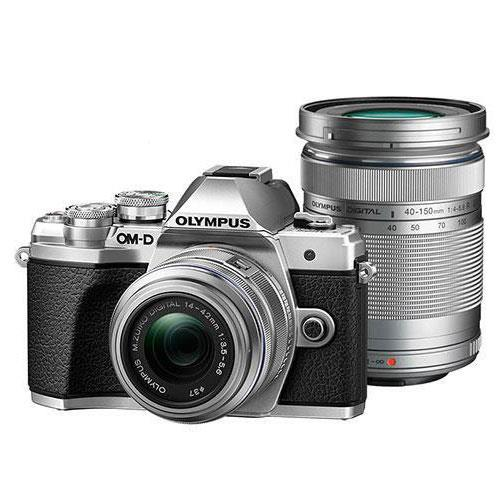 Olympus OM-D E-M10 Mark IV Mirrorless Camera in Silver with 14-42mm II R and 40-150mm R Lenses