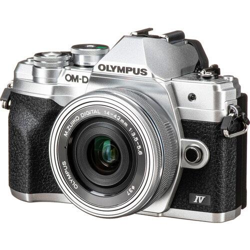 Olympus OM-D E-M10 Mark IV Mirrorless Camera in Silver with 14-42mm F/3.5-5.6 Lens