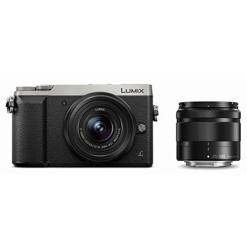 Panasonic Lumix DMC-GX80 Mirrorless Camera in Silver with 12-32mm and 35-100mm Lenses