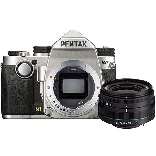 Pentax KP Digital SLR in Silver with HD DA 18-50mm WR Lens