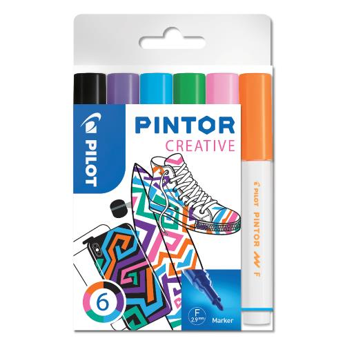 Pilot Pintor Markers Fun Pack of 6 Fine Tip