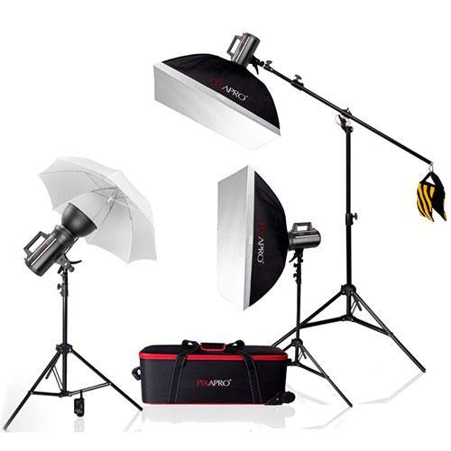 Pixapro LUMI 400 II 1200 Three Head Kit with Boom Stand