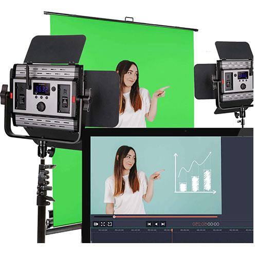 Pixapro LECO 500S II LED Video Light Twin Kit with Green Screen