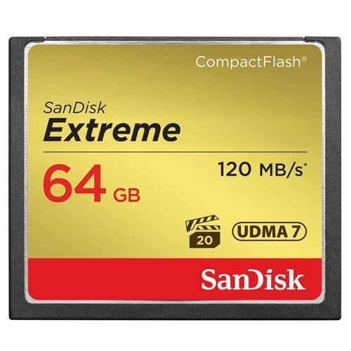 SanDisk Extreme Compact Flash 64GB 120MB/s Memory Card