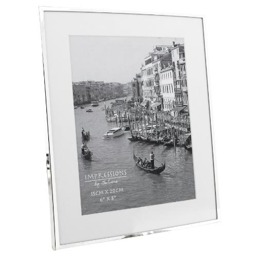 Widdop Impressions White Border 6 x 8' Silver-plated Photo Frame