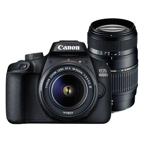 Canon EOS 4000D Digital SLR with EF-S 18-55mm III DC Lens and Tamron 70-300mm Lens