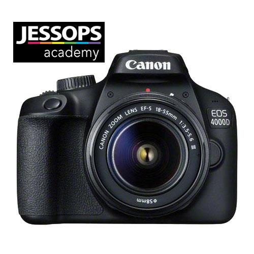 Canon EOS 4000D Digital SLR with EF-S 18-55mm III DC Lens and Jessops 1-2-1 Camera Set-up
