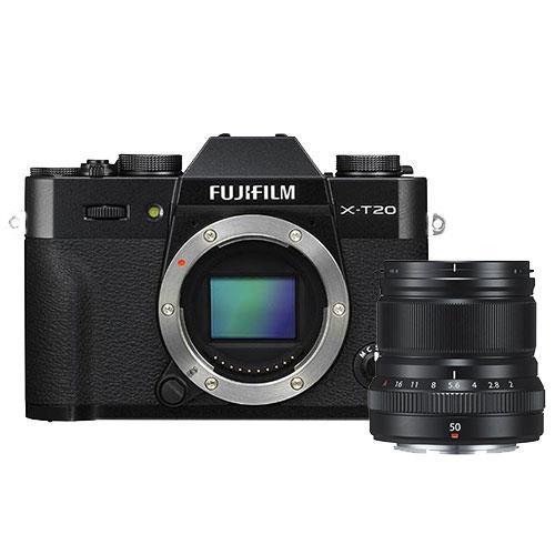 Fujifilm X-T20 Mirrorless Camera Body in Black with XF50mm f/2.0 R WR Lens