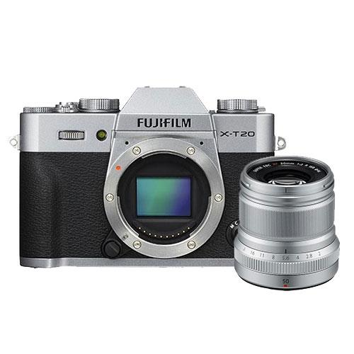 Fujifilm X-T20 Mirrorless Camera Body in Silver with XF50mm f/2.0 R WR Lens
