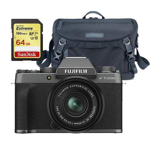Fujifilm X-T200 Mirrorless Camera in Dark Silver with XC15-45mm Lens  + Accessory Bundle