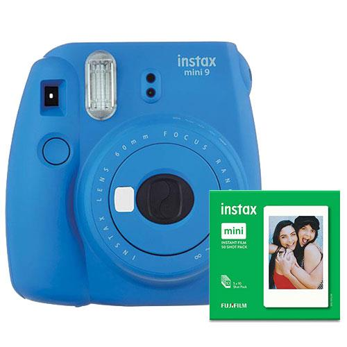 Instax mini 9 Instant Camera in Blue with 10 Shots and 50 Shot Pack