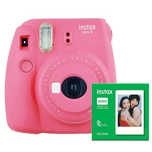 Instax mini 9 Instant Camera in Pink with 10 Shots and 50 Shot Pack