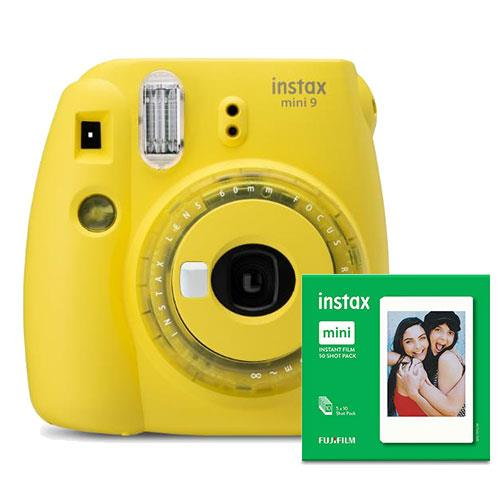Instax mini 9 Instant Camera in Yellow with 10 Shots and 50 Shot Pack