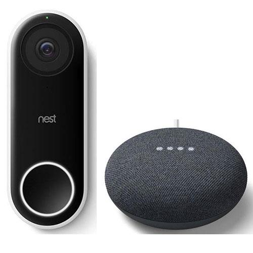 Google Nest Hello Doorbell with Nest Mini in Charcoal