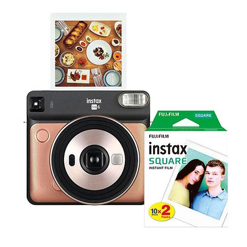 Instax Square SQ6 Instant Camera in Blush Gold with Square Film Twin Pack
