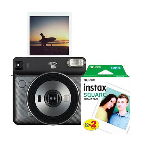 Instax Square SQ6 Instant Camera in Graphite Grey with Square Film Twin Pack