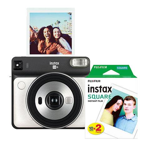 instax Square SQ6 Instant Camera in Pearl White with Square Film Twin Pack