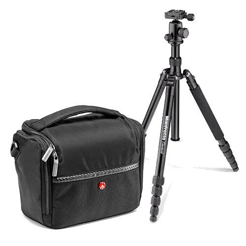 Manfrotto Elements Travel Tripod and Manfrotto Advanced A5 Shoulder Bag Bundle