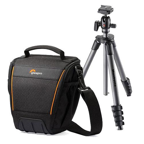 Manfrotto Compact Advanced Tripod and Lowepro Adventura TLZ 30 II Shoulder Bag Bundle